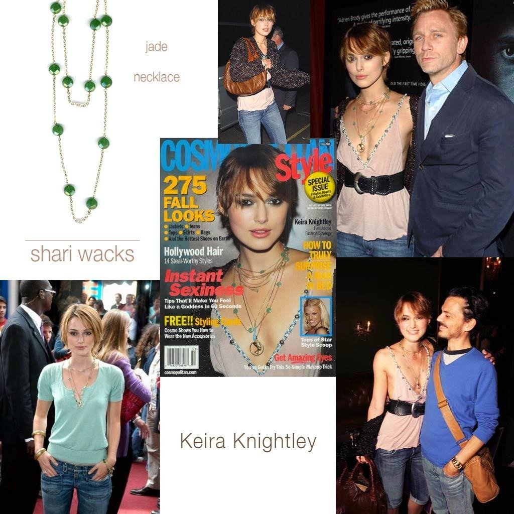 Pictures of Keira Knightley wearing original designer, Shari Wacks' long faceted jade necklace