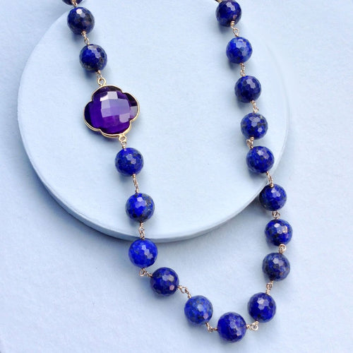 Lapis with Amethyst Clover Necklace