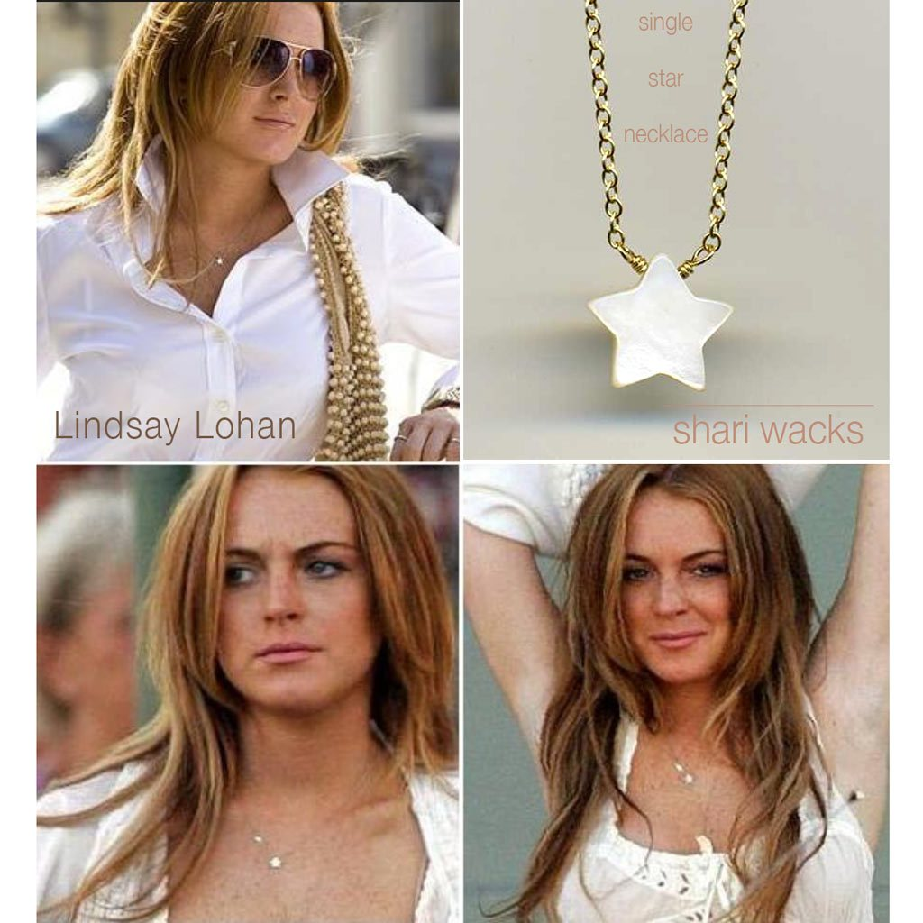 Lindsay Lohan wearing Designer Shari Wacks mother of pearl star necklace