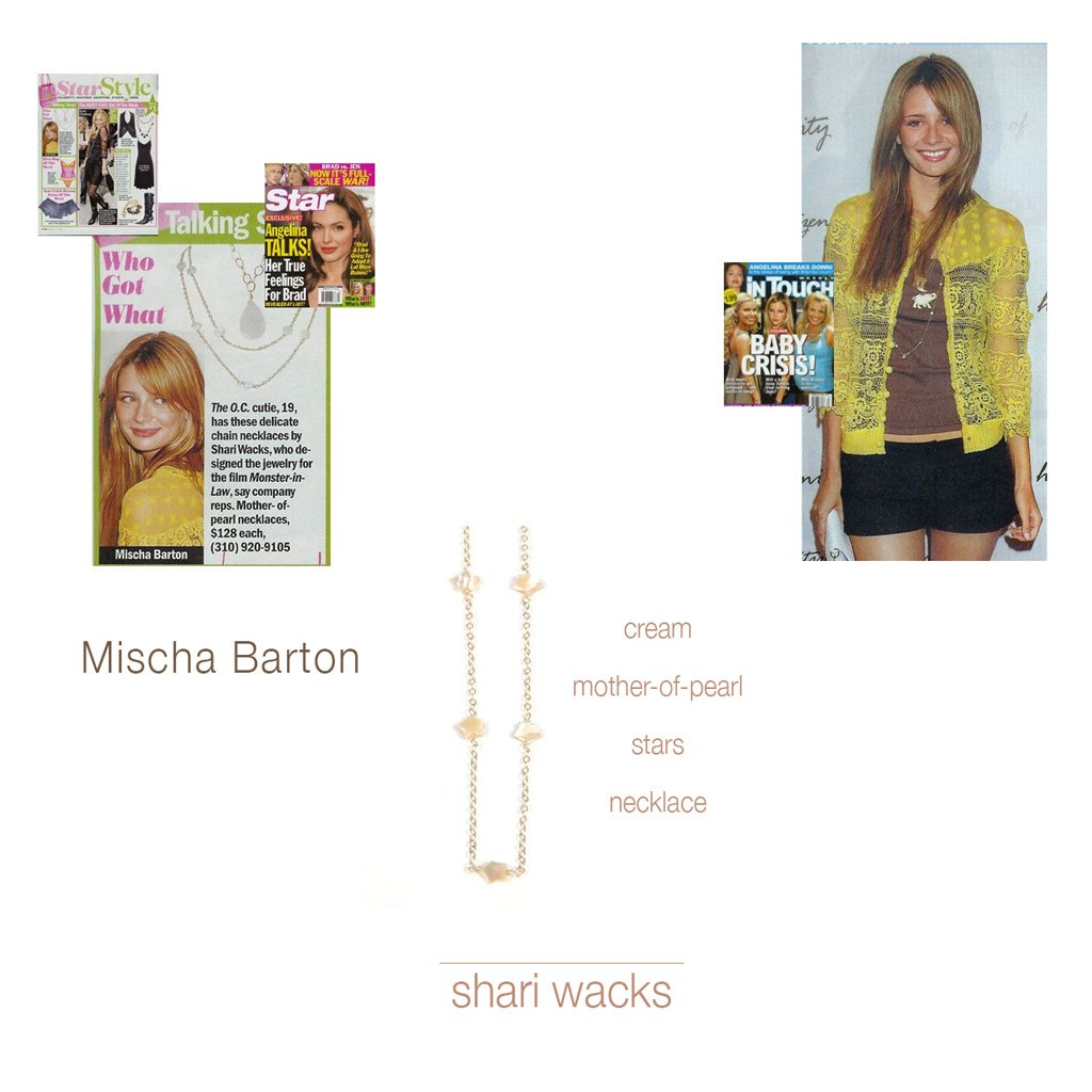 Z-Long Mother of Pearl Stars Mischa Barton Necklace