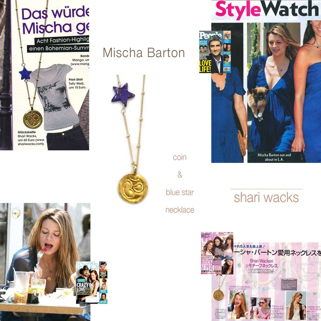 Pictures of Mischa Barton wearing original designer, Shari Wacks' lapis star with om coin necklace