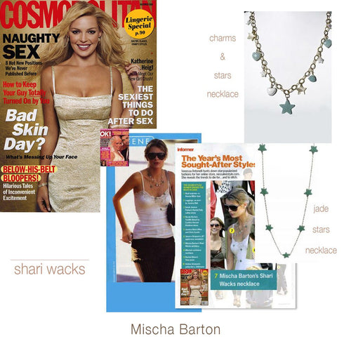 Pictures of Mischa Barton in Cosmopolitan magazine wearing original designer, Shari Wacks' green Jade long necklace layered with another Shari Wacks Amazonite and Howlite charm necklace