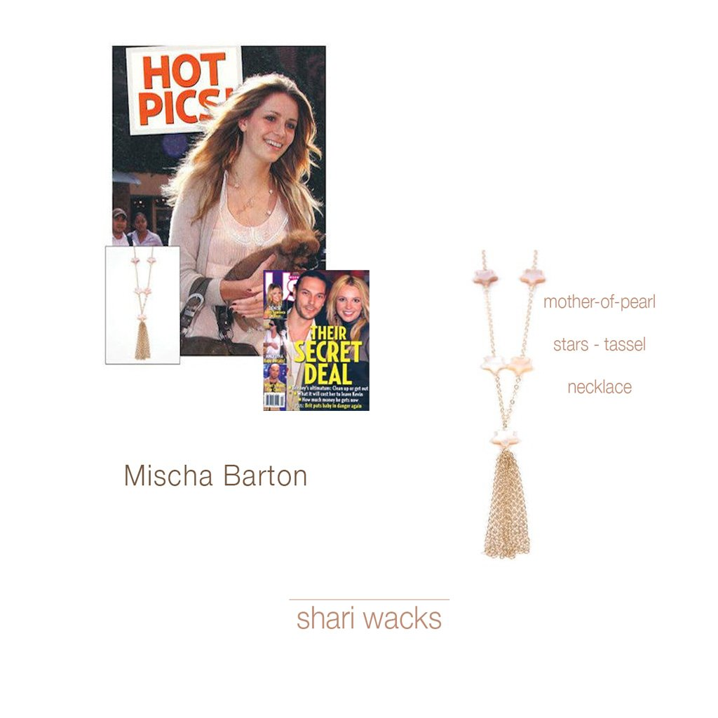 Mischa Barton US Magazine Wearing Original Designer, Shari Wacks' Mother-of-Pearl Star TasselNecklace