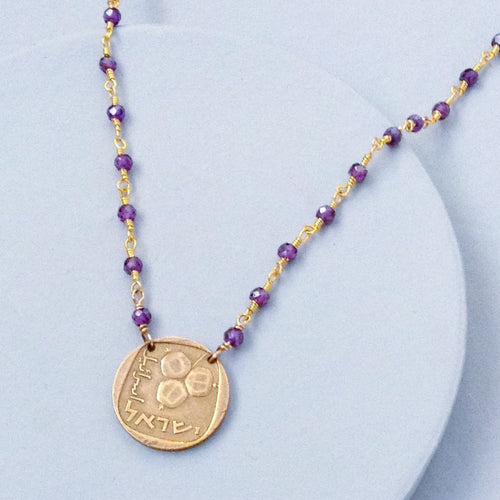 Israeli Vintage Coin with Amethyst Necklace