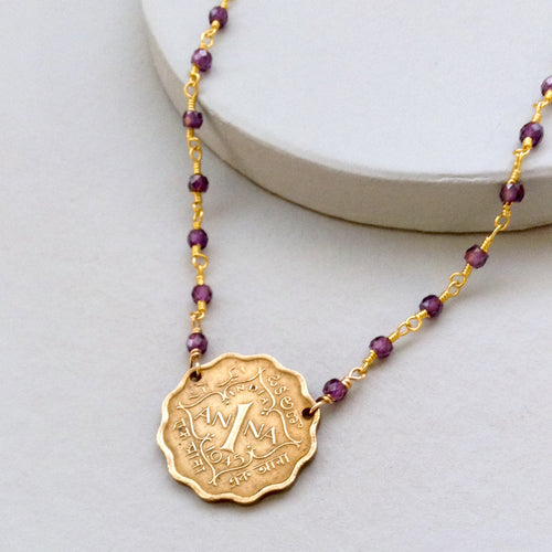 India Ornate Vintage Coin with Amethyst Necklace