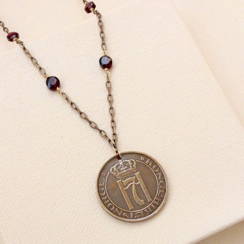Norway Vintage Coin with Garnet Necklace