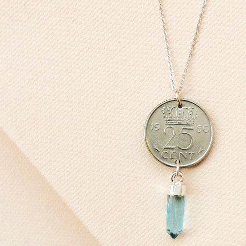 Regal Vintage Coin with Blue Quartz Necklace