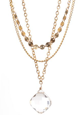 photo of three-part shari wacks necklace with crystal quartz drop