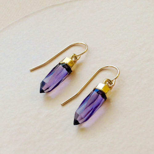 faceted amethyst spike gold earring