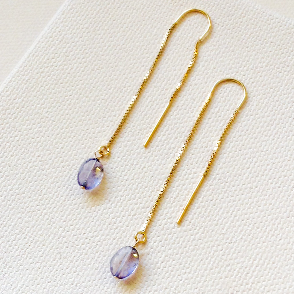 Iolite Threader Earrings