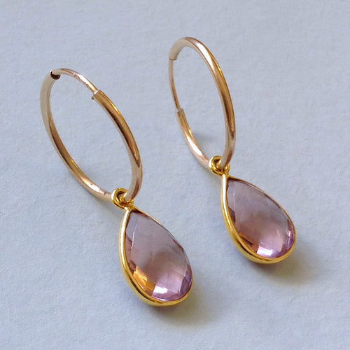 Faceted Mauve Quartz Hoop Earrings