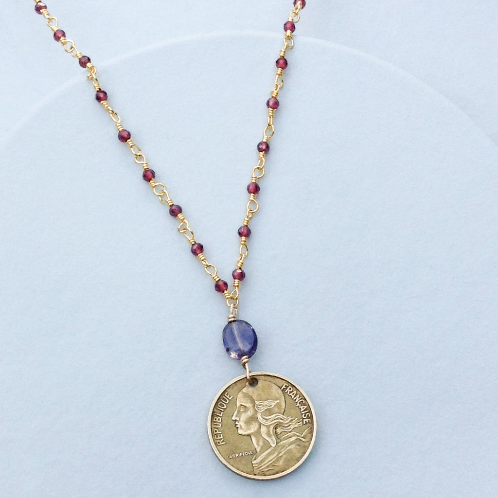 Womens' Freedom French Coin Necklace