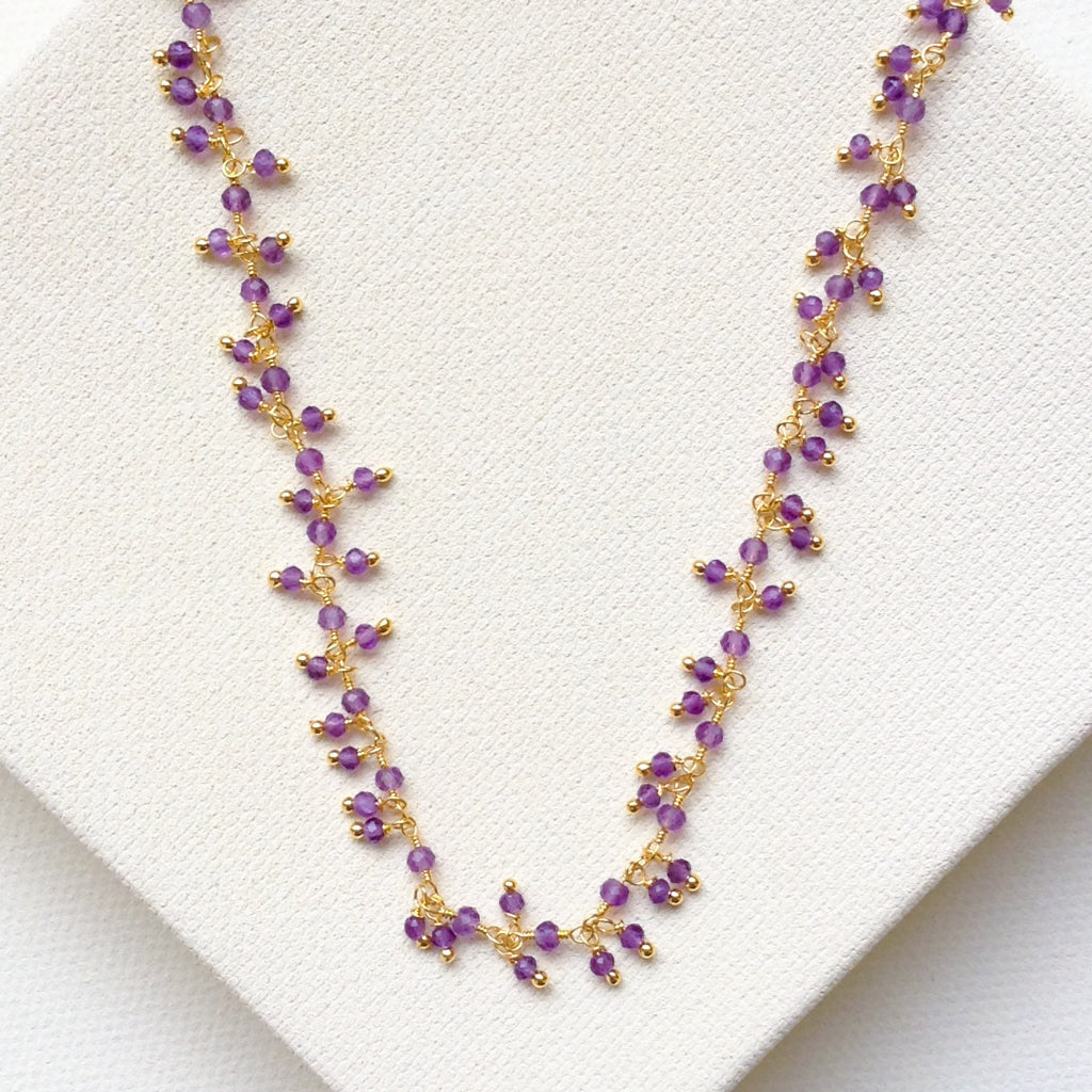 faceted amethyst cluster delicate pretty gold necklace