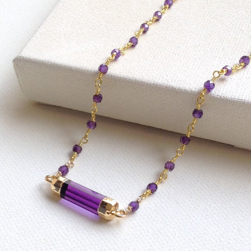 amethyst pendant gold necklace
