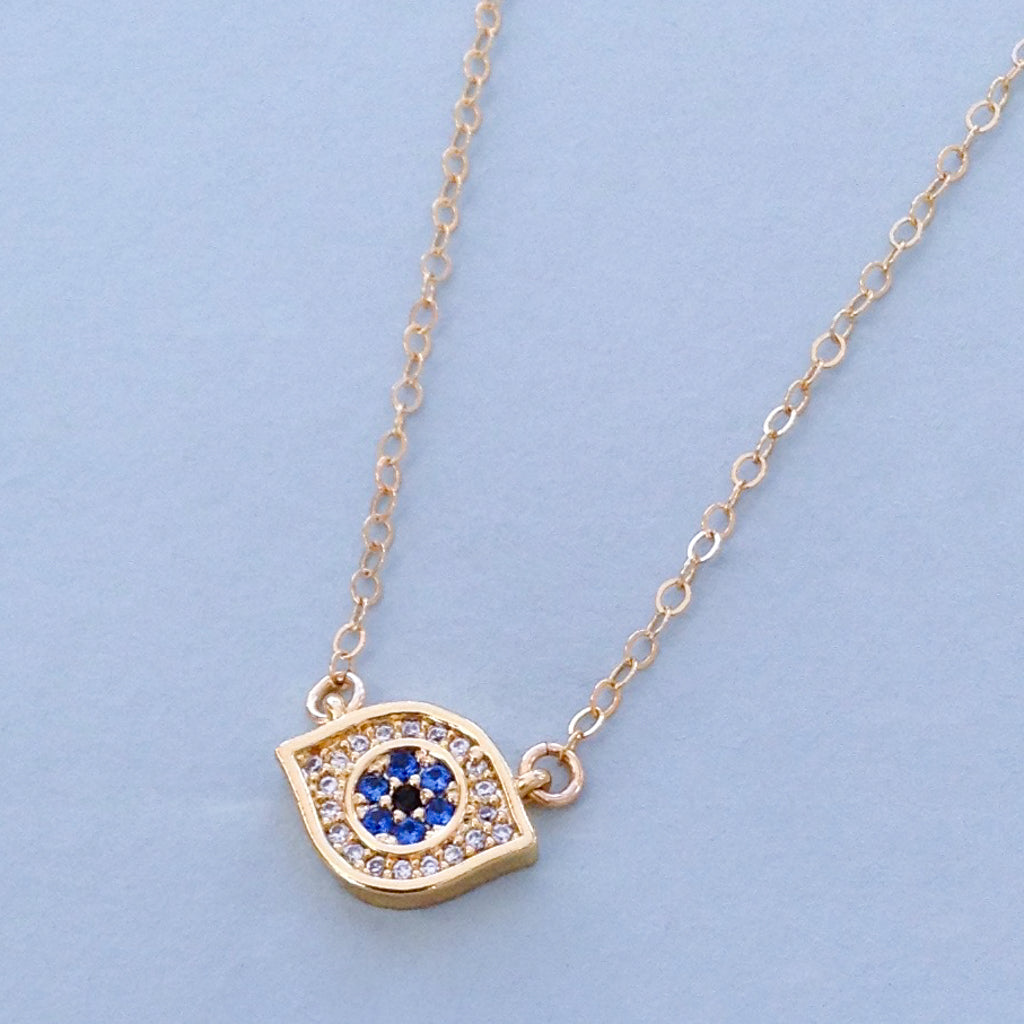 pretty evil eye cubic zirconia protection gold pendant necklace with chain