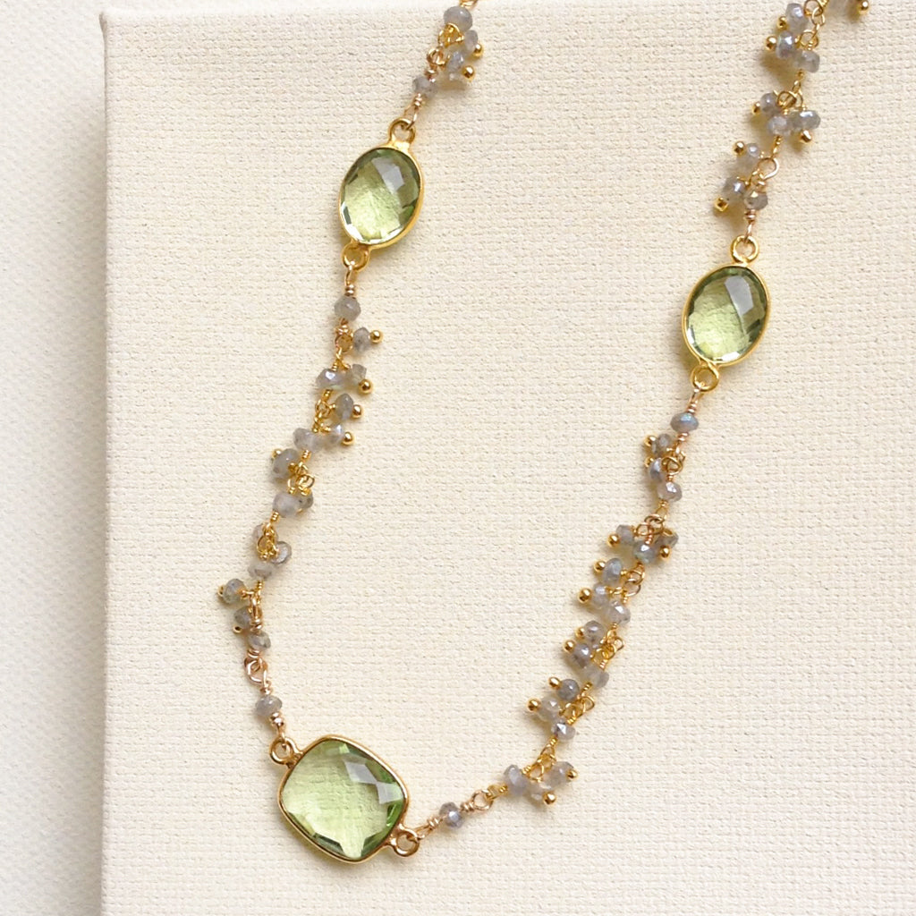 Labradorite and Green Amethyst Necklace