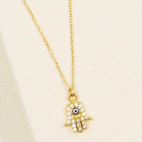 delicate dainty hamsa with cubic zirconia crystal and enamel evil eye gold pendant necklace