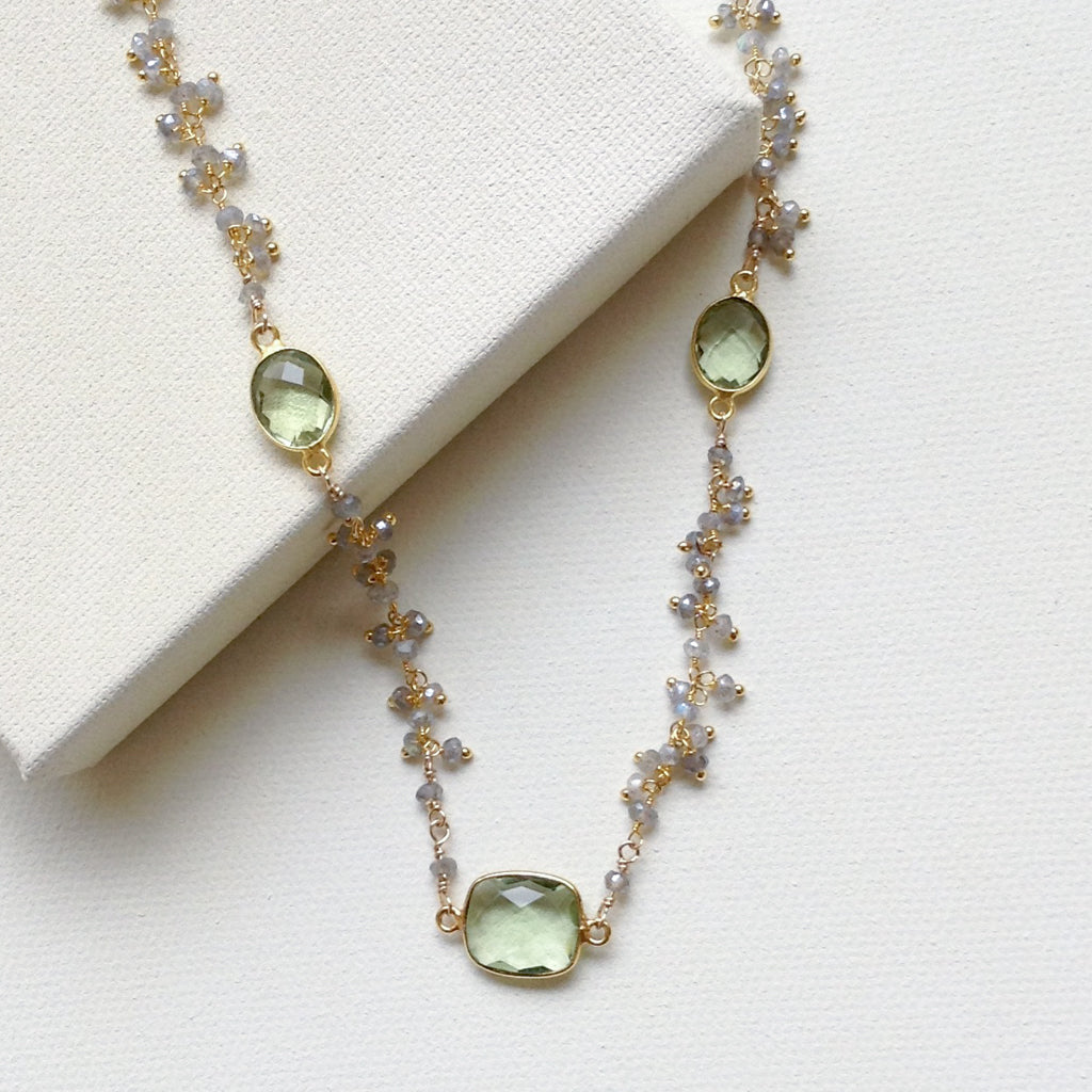 Mistique Labradorite and Green Amethyst Necklace