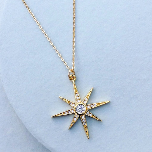 gold and cubic zirconia star starburst pendant chain holiday necklace