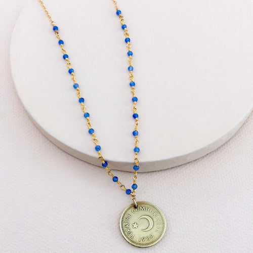Turkish Vintage Moon and Star Coin Necklace