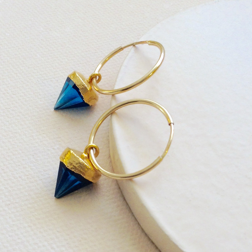 blue quartz gold poin hoop trendy earring
