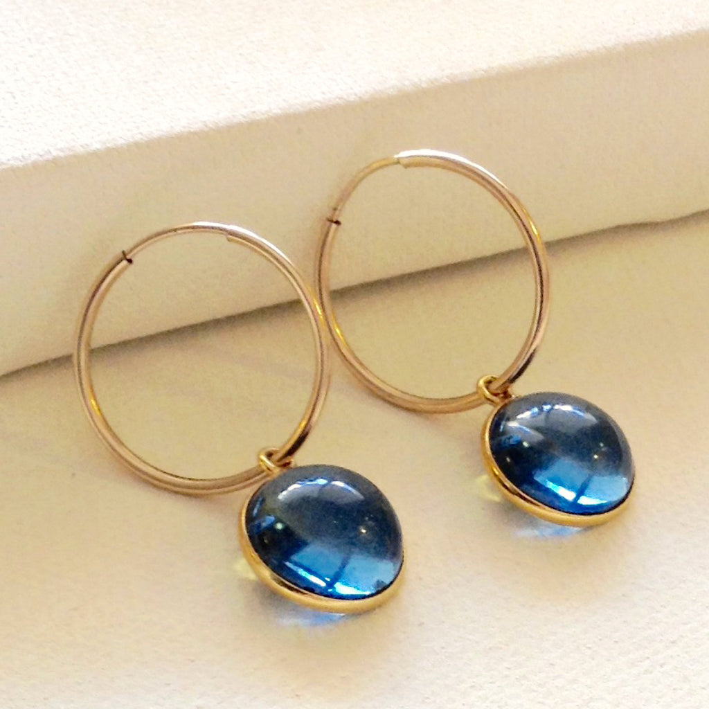 blueberry quartz circle gold hoop trendy earring