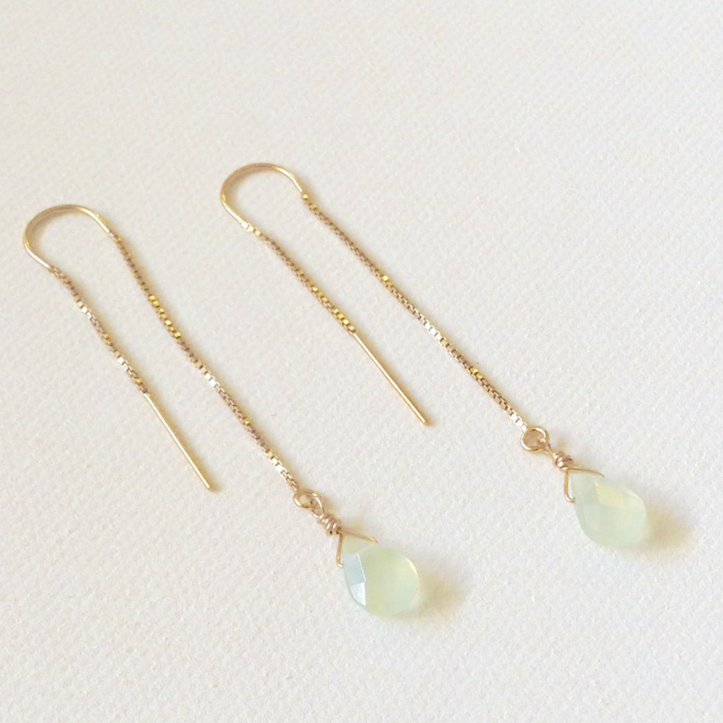 Light Jade Threader Earrings