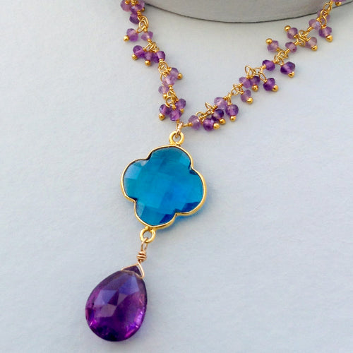 Amethyst and Faceted Blue Quartz Clover Necklace