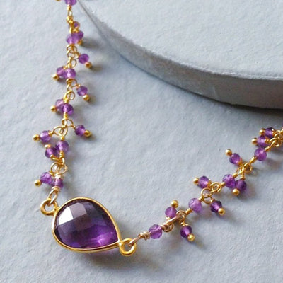 faceted amethyst regal royal gold pendant necklace