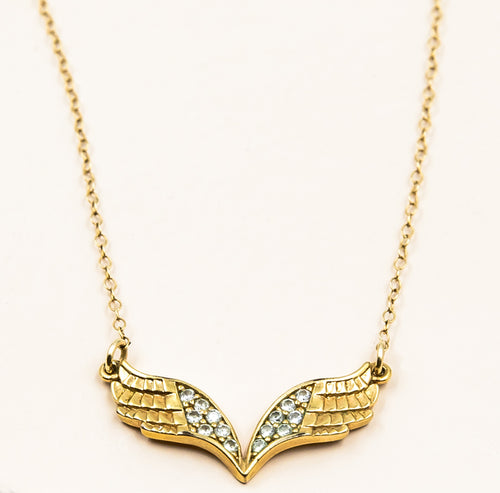 gold and cubic zirconia angel wing pendant spiritual necklace