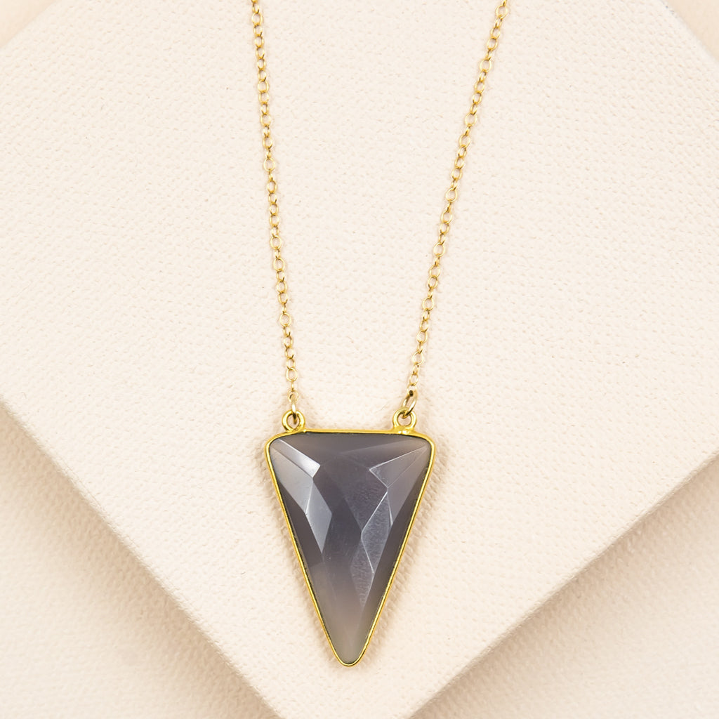 Faceted Grey Chalcedony Triangle Necklace