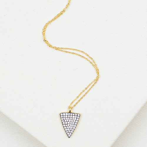 cubic zirconia triangle point gold pendant chain trendy necklace