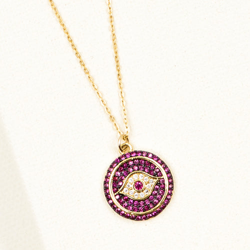 Fuchsia Evil Eye Protection Necklace
