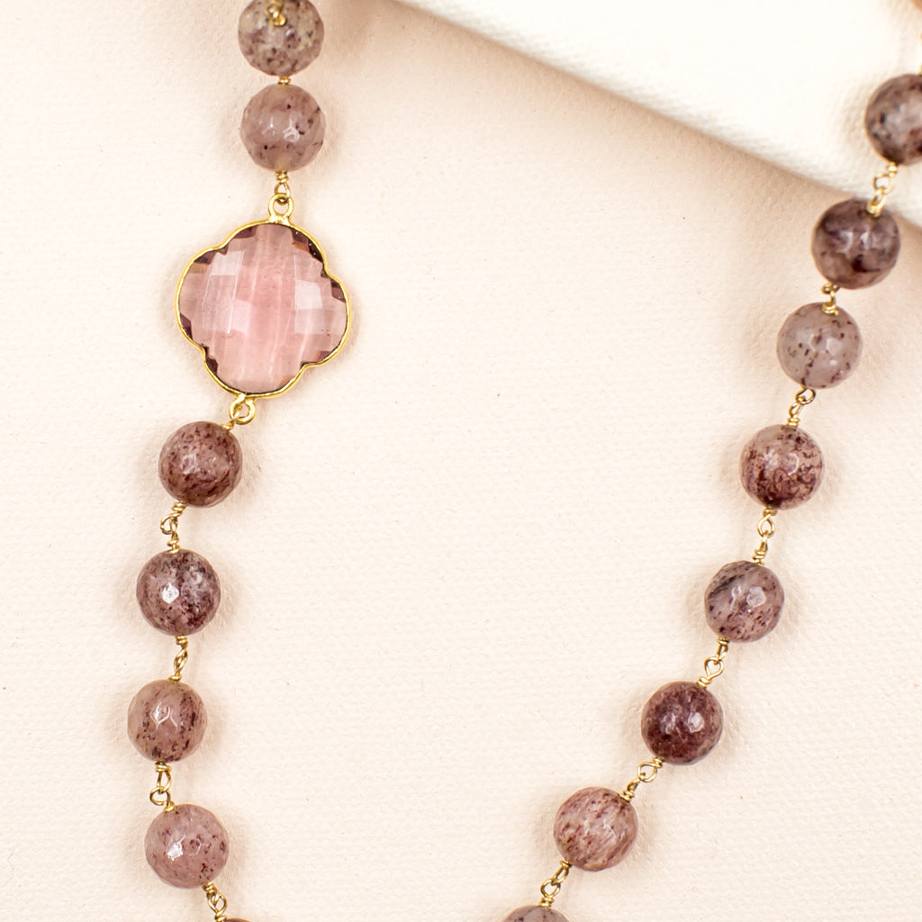 Strawberry Quartz with Clover Necklace