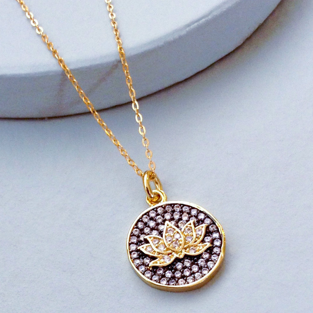 lotus flower cubic zirconia gold enlightenment pendant yoga spiritual necklace