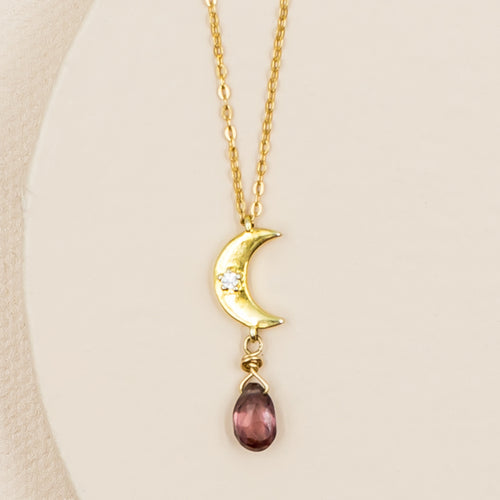 Moon with Faceted Plum Zircon Necklace