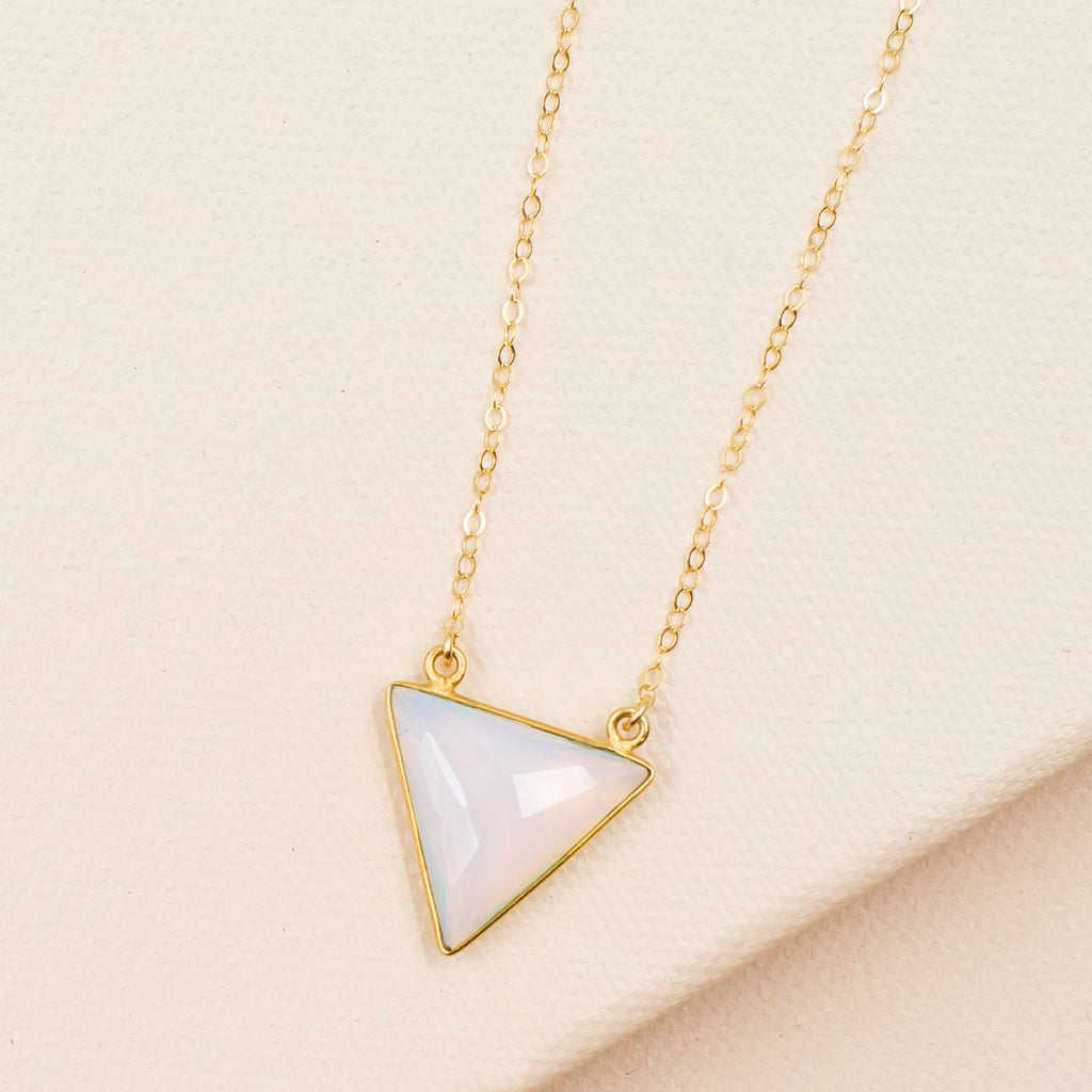 Faceted Opalite Triangle Necklace