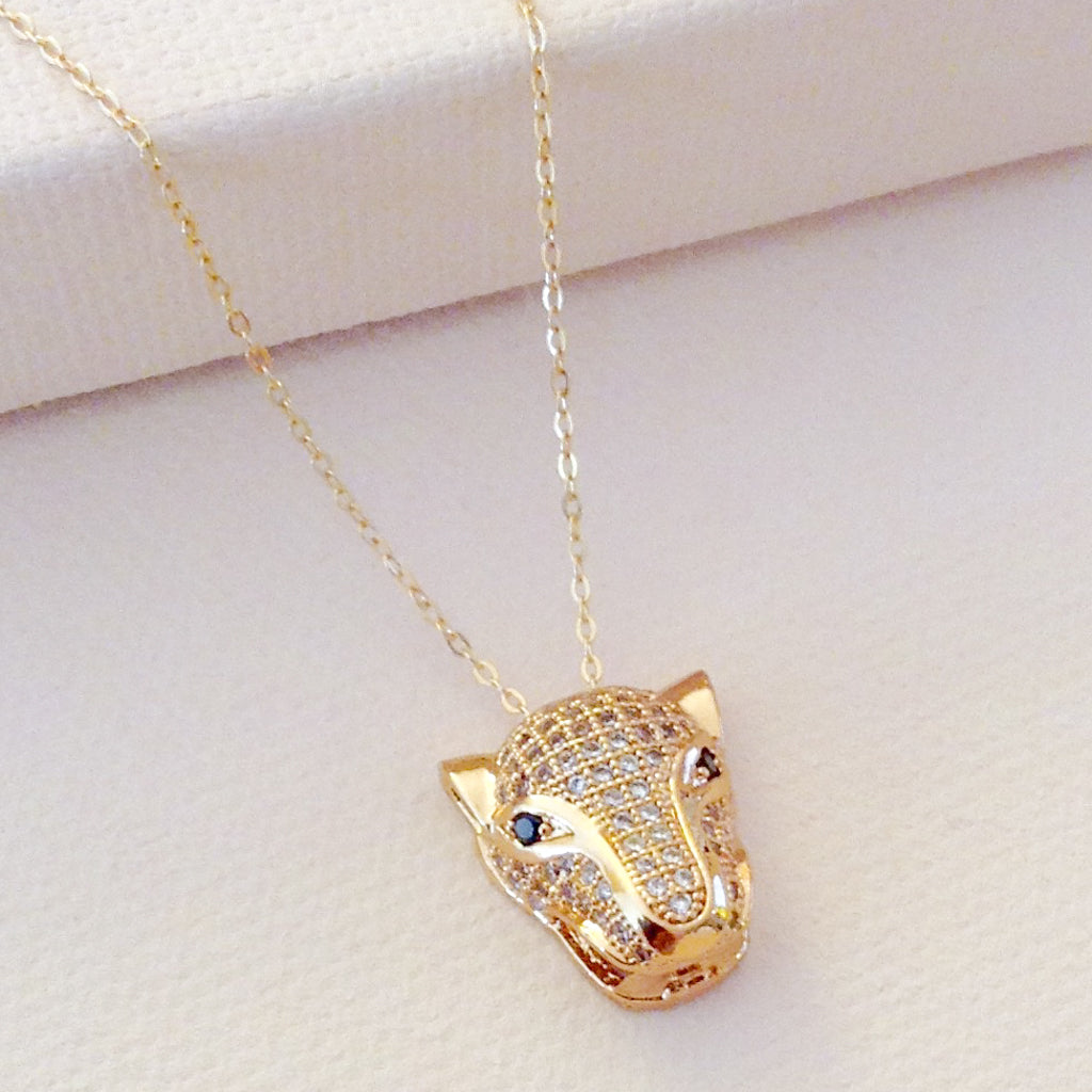 bold gold panther cubic zirconia pendant chain necklace