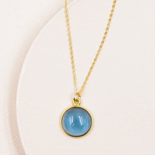 blueberry quartz circular gold pendant minimalist chain necklace