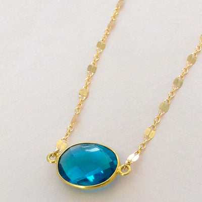 Faceted Teal Quartz Necklace