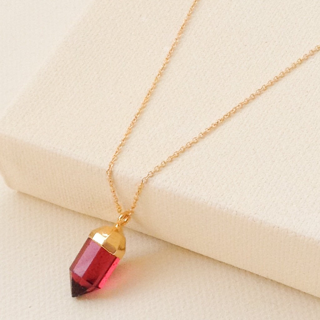 Fuschia Quartz Point Necklace