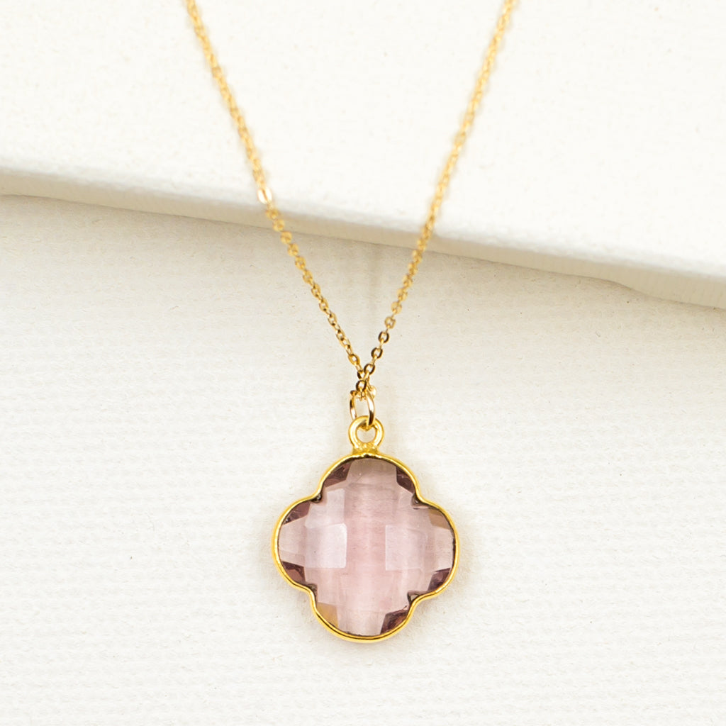 Mauve Quartz Clover Necklace