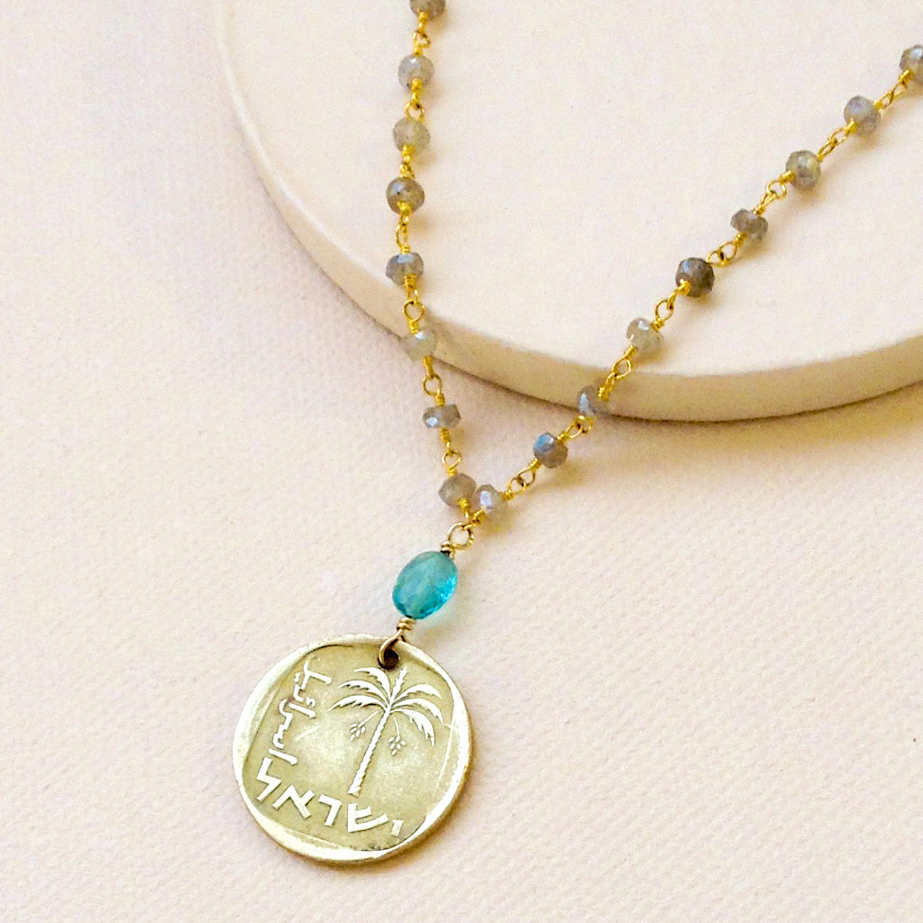 Labradorite with Vintage Israeli Coin Necklace