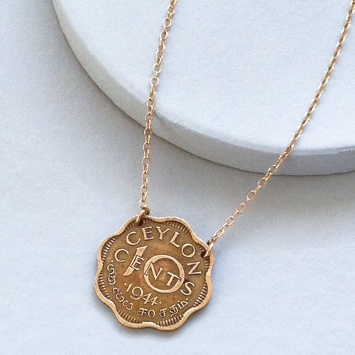 Scalloped Ceylon Vintage Coin Necklace