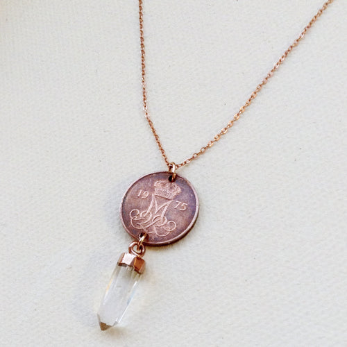 copper antique vintage danish coin crystal quartz point gold pendant chain necklace
