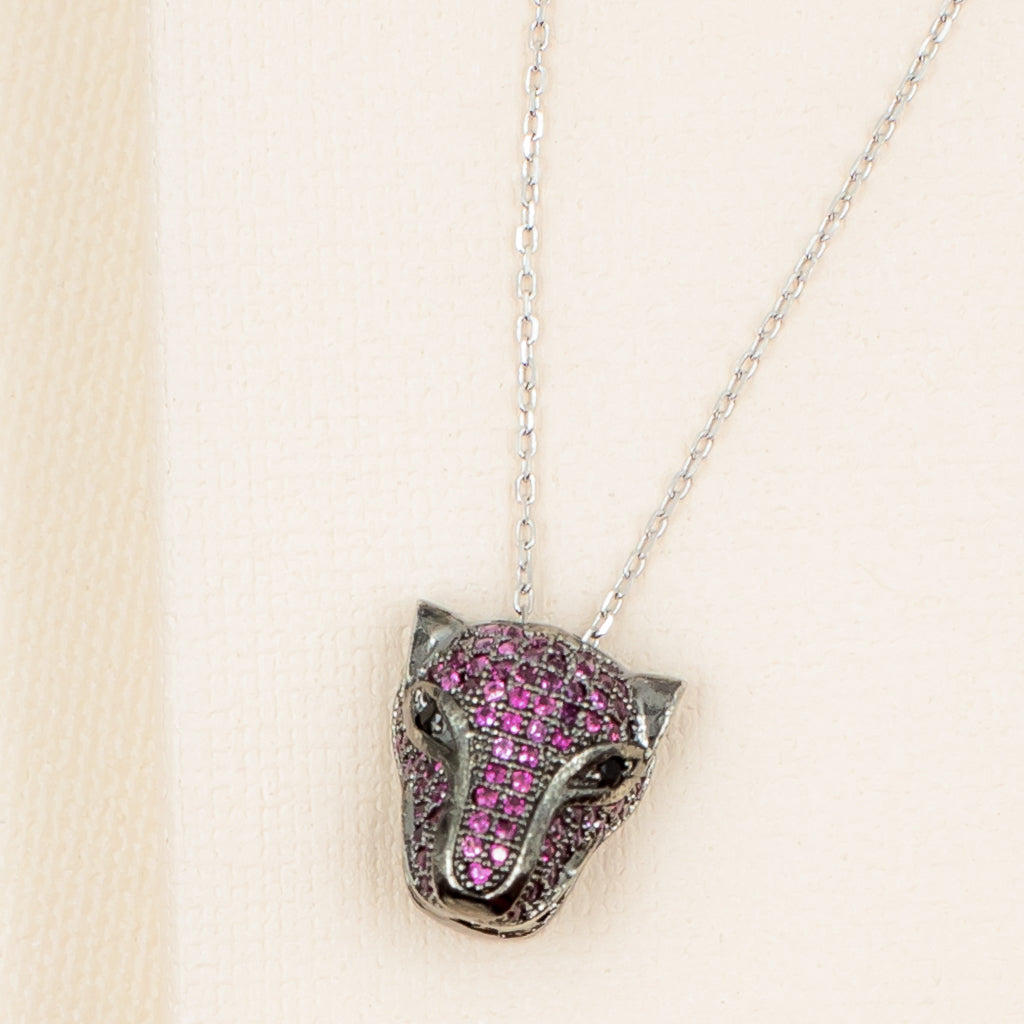 Fuchia Panther Necklace