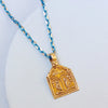 gold angel indin pendant turquoise chain trendy necklace