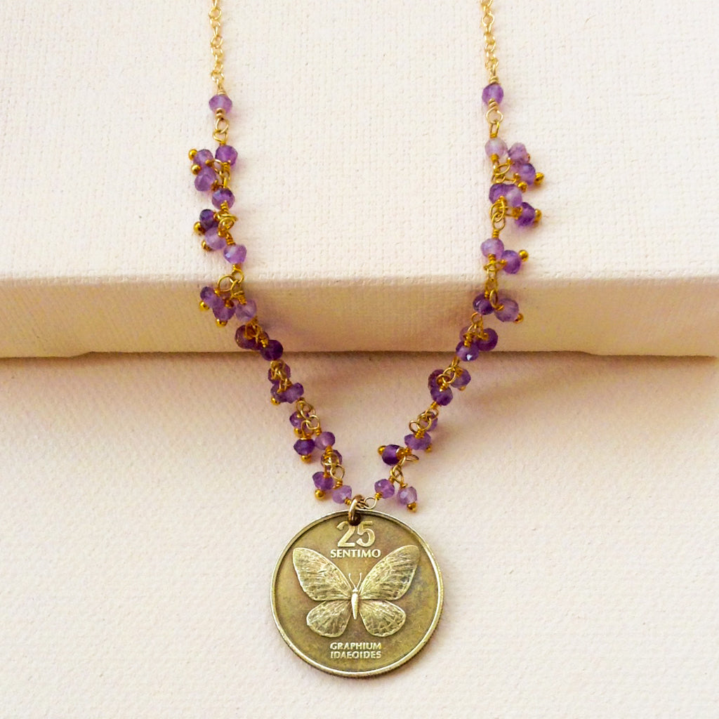 vintage antique butterfly coin pendant phillippines with amethyst necklace