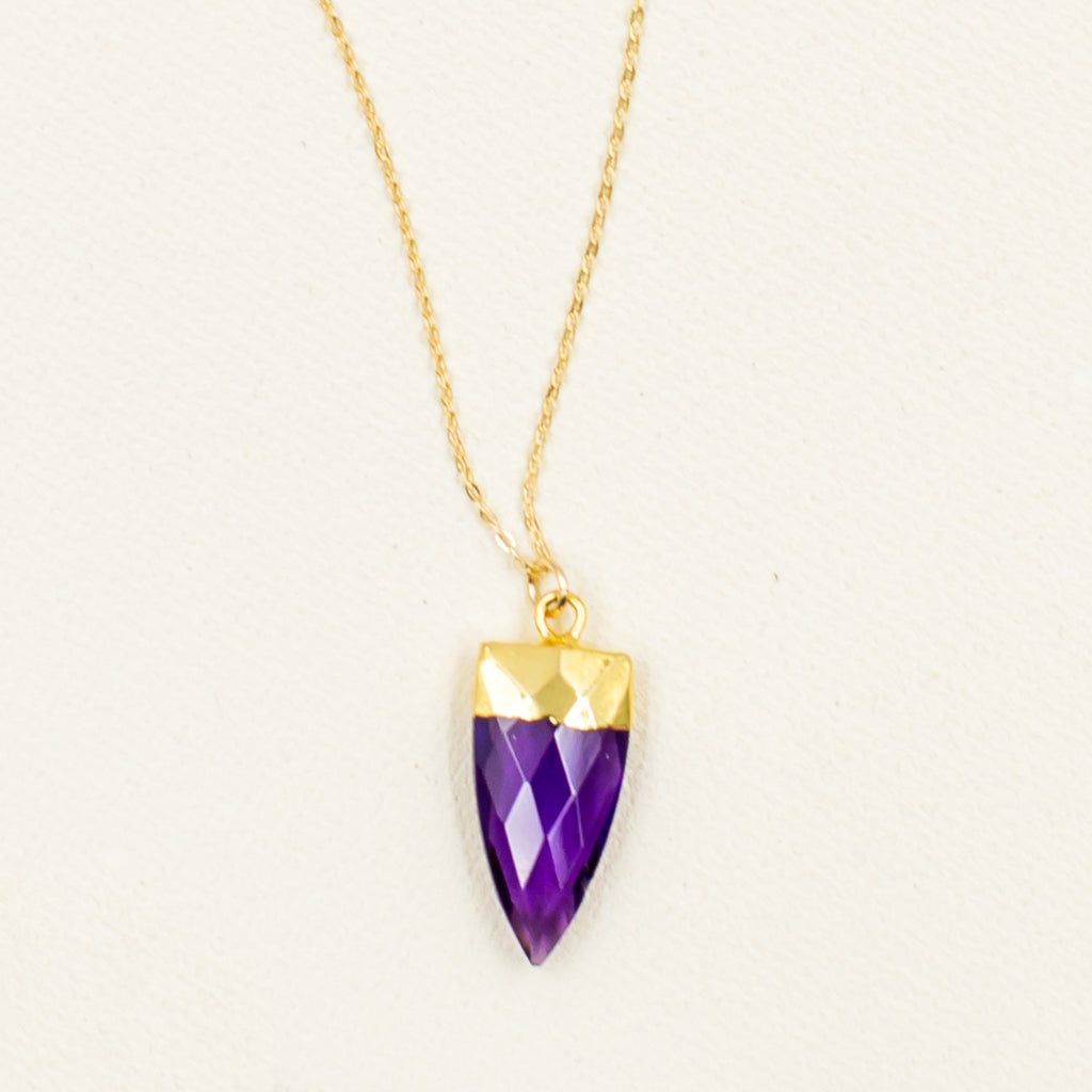 amethyst with gold pendant chain necklace