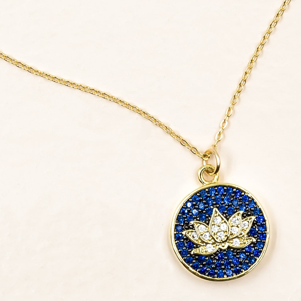 lotus cobalt blue flower cubic zirconia gold enlightenment pendant yoga spiritual necklace